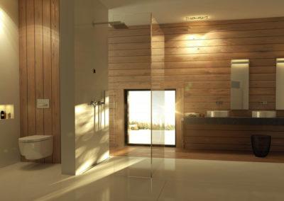 Bidet v koupelně obložené dřevem