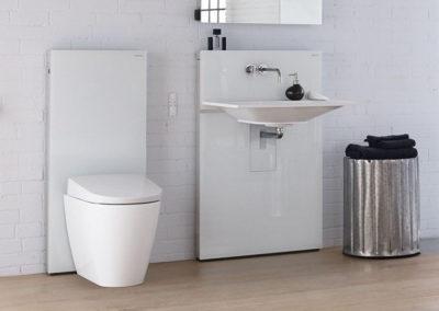 Retro koupelna s moderním bidetem
