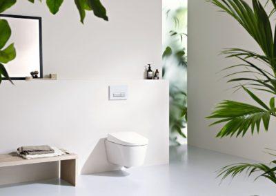 Stylový bidet v koupelně ozdobené zelení