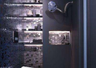 Stylový kontrast světlého designu bidetu v moderní tmavé koupelně